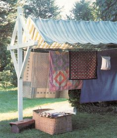 Canopy clothesline - a hammock could be added (Martha Stewart Living - April 2000)