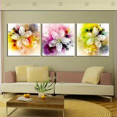 Print Canvas Wall Art Abstract Flower Decoration Art Oil Painting Modular Pictures on The Wall Canvas Prints No Frame Flower Wall Decor, Flower Decorations, Flower Canvas, Flower Art, House Color Schemes, Home Decor Paintings, Cross Paintings, Pink Wallpaper, Canvas Wall Art