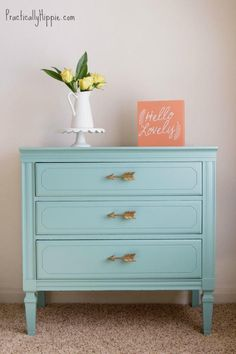 DIY decorating How to paint furniture with General Finishes Milk Paint; custom color with 2 parts Halcyon Blue and 1 part Lime Green Milk Paint Furniture, Kids Bedroom Furniture, Refurbished Furniture, Repurposed Furniture, Furniture Projects, Furniture Making, Furniture Makeover, Painted Furniture, Diy Furniture