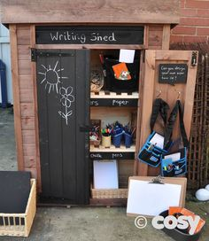 what to have in your outdoor writing area Eyfs Outdoor Area, Outdoor Play Areas, Outdoor Fun, Eyfs Classroom, Outdoor Classroom, Outdoor School, Outdoor Learning Spaces, Outdoor Education, Reception Class