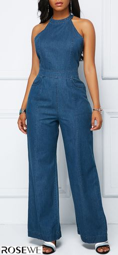 Women's Denim Jackets : High Waist Denim Blue Bib Neck Jumpsuit .With new styles added each morning,you will discover fabulous finds for you,your family,&your home. African Fashion Dresses, African Dress, Summer Outfits, Casual Outfits, Cute Outfits, Denim Fashion, Fashion Outfits, Womens Fashion, Trendy Clothes For Women