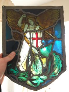 rare 19th century stained glass   gothic revival, in the shape of a shield 14x10