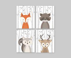 Forest Animal Set Woodland Nursery Wall Art Print by YassisPlace