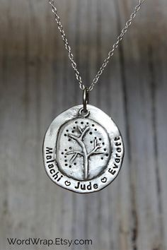 Family tree mothers necklace, rustic 925 sterling silver, name jewelry, stamped with kids names, per Mrs Necklace, Name Necklace, Mother Necklace, Unique Gifts For Mom, Crescent Necklace, Mother Jewelry, Heart Shaped Diamond, Jewelry Quotes, Hand Stamped Jewelry