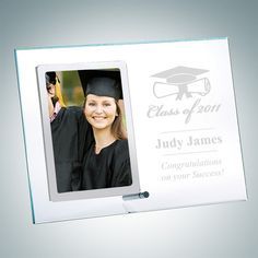 $39 Vertical Clear Glass Photo Frame with Stainless Silver Pole | CrystalPlus.com Personalized Crystal Awards, Trophies and Gifts