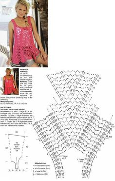 Crochet pattern for top Patrones Crochet: Top Casaca Ondas Patron - I love its comfortable shape! *I can see a young lady in our family wanting this. crochet pattern chart for C-Tunika Top Jumper häkeln - crochet Tunic. T-shirt Au Crochet, Crochet Tunic Pattern, Crochet Shirt, Crochet Diagram, Crochet Woman, Crochet Stitches, Free Crochet, Crochet Patterns, Crochet Gratis