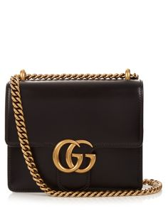Gucci Gg Marmont Mini Leather Shoulder Bag In Black Gucci Shoulder Bag, Crossbody Shoulder Bag, Shoulder Handbags, Leather Shoulder Bag, Shoulder Bags, Gucci Crossbody, Mini Crossbody Bag, Black Crossbody, Leather Purses
