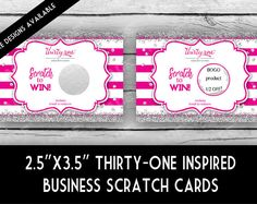 THIRTY-ONE Inspired SCRATCH Off Cards - Stripe/Glitter, Direct Sales Inspired, Professional Printing,Business Stationery