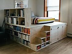 Turn basic IKEA cabinets and dressers into multi-functional platform beds: you get both beds and storage in the same footprint. furniture small spaces 6 Ways to Hack a Platform Storage Bed from IKEA Products Small Space Living, Small Spaces, Living Area, Living Rooms, Diy Platform Bed, Platform Bed Storage, Diy Casa, Ikea Cabinets, Bedroom Cabinets