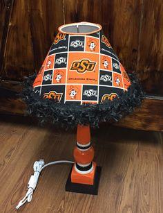 OSU Cowboys lamp with shade orange black fabric handpainted by HolyChicBoutiqueCo on Etsy