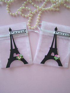 Paris theme party Favor bags, Paris baby shower, Paris theme party, Paris bridal shower, Paris party decorations, Eiffel Tower party decor by FavorsByGirlybows on Etsy https://www.etsy.com/listing/115550668/paris-theme-party-favor-bags-paris-baby