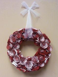 Antiqued Paper Rose Valentine's Wreath