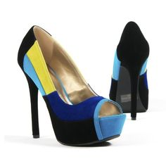 Qupid Women's Shoes Colorblock Yellow Open Toe Platform High Heel Pump, Blue Faux Suede