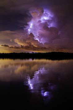 ~~Reflections of Color | lightning strike sparkles across Tampa Bay | by Galen Burow~~