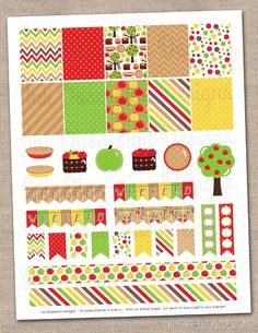 Apple Picking Planner Stickers Set Instant Download DIY Printable PDF with Checklists Weekend Banners