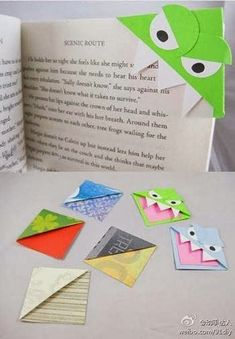 Funny pictures about Origami bookmarks. Oh, and cool pics about Origami bookmarks. Also, Origami bookmarks. Kids Crafts, Cute Crafts, Crafts To Do, Arts And Crafts, Dyi Crafts, Origami Monster Bookmark, Origami Bookmark, Bookmark Craft, Bookmark Ideas