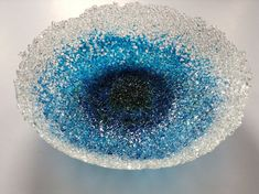 Blue Fused Glass Frit Bowl por SeaShellsGlass en Etsy