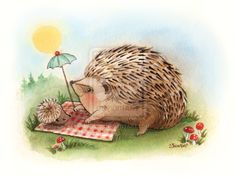 Hedgehog watercolor 1 by ~BlueBirdie on deviantART