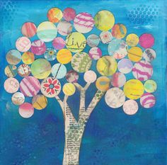 Gumball Tree No. 1- Mixed Media Collage, 8x8, One of a Kind Art