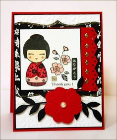 Asian Doll for Jojot by sleepyinseattle - Cards and Paper Crafts at Splitcoaststampers Aliexpress Dies, Japanese Christmas, Asian Crafts, Chinese New Year Card, Hero Arts Cards, Asian Doll, Embossed Cards, Card Sketches, Paper Cards