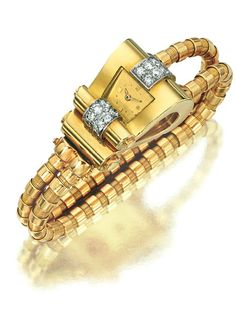YELLOW GOLD AND DIAMOND WRISTWATCH, BOUCHERON, 1945 The case designed as a stylised scroll set with two lines of single-cut diamonds, to the square dial set with dot indicators, the bracelet of fancy linking,   case signed Boucheron Paris and numbered, French assay marks.