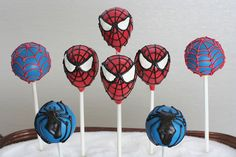 Spiderman Cake Pops | Spiderman Mask Cake pops, along with s… | Flickr