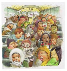 School Bus cartoon drawing of a typical load of kids!