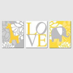 Floral Elephant Giraffe Love Nursery Art Trio - Set of Three 8x10 Prints - Choose Your Colors - Shown in Yellow, Gray, and More on Etsy, $55.00