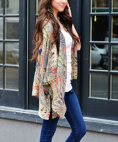 Love this Taupe & Red Peacock Collage Open Cardigan on #zulily! #zulilyfinds