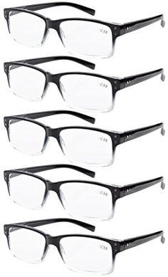 37c9daa7b06 Eyekepper 5-pack Spring Hinges Vintage Reading Glasses Men Readers  Black-clear Frame +