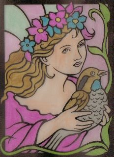 Kendra Ove  11 years old  Fairy Princesses Stained Glass Coloring Book: http://store.doverpublications.com/0486430014.html