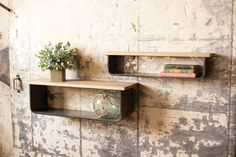 Kalalou Metal And Wood Wall Shelves - Set Of Bohemian chic rolled edge metal shelves topped with extended wood shelving. Both materials do their part to highlight the placement of collected artifacts. Wall Shelf Decor, Wood Wall Shelf, Wall Mounted Shelves, Metal Shelves, Display Shelves, Shelf Brackets, Ledge Shelf, Steel Shelving, Wall Bookshelves