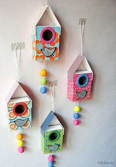 Matchbox Birdhouse Craft (The Crafty Crow) Diy And Crafts, Craft Projects, Crafts For Kids, Arts And Crafts, Paper Crafts, Paper Toys, Matchbox Crafts, Matchbox Art, Birdhouse Craft
