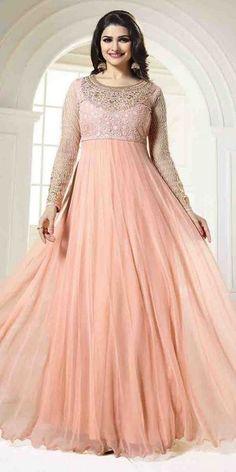 Dashing Peach Georgette Anarkali Suit With Chiffon Dupatta.