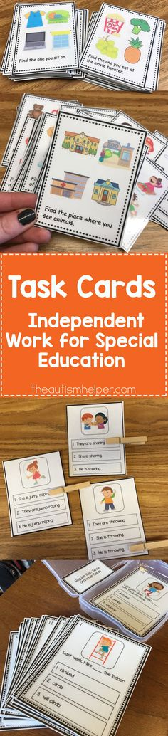 for the Win Task cards are the perfect go-to resource for independent work! From Task cards are the perfect go-to resource for independent work! Autism Activities, Speech Therapy Activities, Language Activities, Classroom Activities, Classroom Decor, Life Skills Classroom, Autism Classroom, Special Education Classroom, Reading Task Cards
