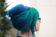 Blue and green dyed hair