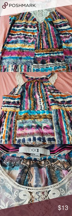 XXI sleeveless top Brand: XXI Size: M Color: Colourful Style: Sheer Pattern: Striped Sleeve: Sleeveless   Buyers can expect: Careful packaging, Fast shipping, & Delivery confirmation with each item purchased! PET FREE HOME & SMOKE-FREE HOME. XXI, Forever21 Tops