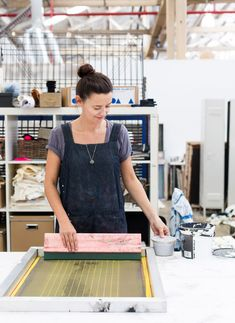 Sydney textile designer Joanna Fowles in her Rosebery studio. Photo Phu Tang for thedesignfiles.net