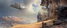 Through the wreckage by Stephan Martiniere.  Get this print on canvas.    Keywords: milennium falcon han solos spaceship flying through star...