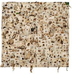 hanaa malallah  Shroud 2  2010  Folded burned canvas and mixed media on canvas  150 x 150 cm