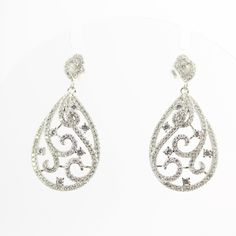 Arabesque Cubic Zirconia Teardrop Silver Dangle Earrings