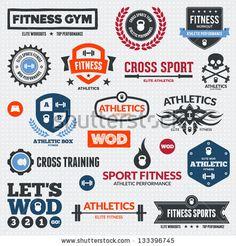 Set of various sports and fitness logo graphics and icons - comprar este(a) imagem vetorial de banco no Shutterstock e encontrar outras imagens. Fitness Logo, Elite Fitness, Fitness Brand, Crossfit Shirts, Crossfit Gym, Gym Logo, Free Art Prints, Gym Design, Sport Design