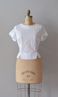 vintage 1950s blouse / white 50s blouse / Eyelet Dot by DearGolden, $46.00