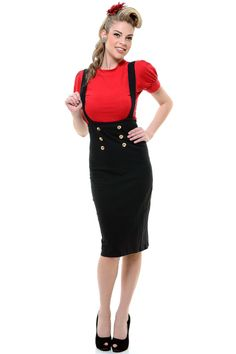Black Maria High Waisted Pencil Skirt With Buttons