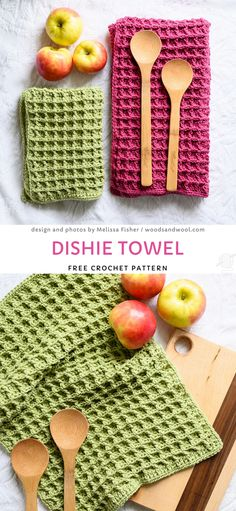 Dishie Towel Free Crochet Pattern Zero Waste and Colorful Crochet Dishcloths These sweet towels are lovely structured and that s why they will soak water very well Bring some colors into Crochet Patterns For Beginners, Crochet Blanket Patterns, Crochet Stitches, Knitting Patterns, Crochet Dishcloths Free Patterns, Dishcloth Crochet, Needlepoint Stitches, Crochet Kitchen Towels, Crochet Towel