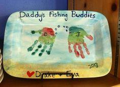"""Daddy's Fishing Buddies"" Handprint Platter"