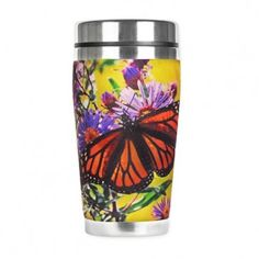 Monarch Butterfly Insulated Travel Mug Butterfly Gifts, Butterfly Design, Monarch Butterfly, Fly Love, Aster Flower, Insulated Travel Mugs, Butterfly Watercolor, Secret Santa Gifts, Coffee Gifts