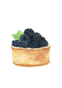 Original Painting - Blackberry Tart (Sweet Food Watercolors Wall Art, Still Life) A5