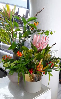 An eclectic, happy mix of winter fynbos we did at Two Oceans Restaurant. Ocean Restaurant, Oceans, Blossoms, Wedding Bouquets, Floral Design, Dream Wedding, Winter, Happy, Flowers
