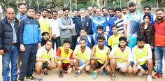 Handball players posing alongwith Secretary J&K State Sports Council Waheed-ur-Rehman Parra and other dignitaries in Jammu.